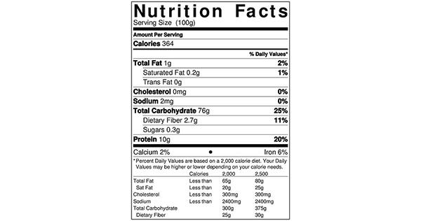 100 grams Nutrition Label for Flour