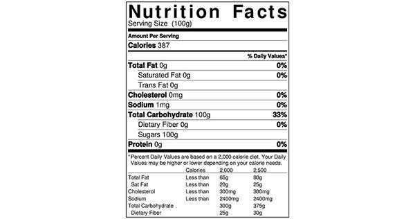 100 grams Nutrition Label for Sugar