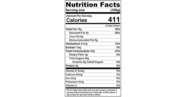 Strawberry Frosting 100 grams nutrition label