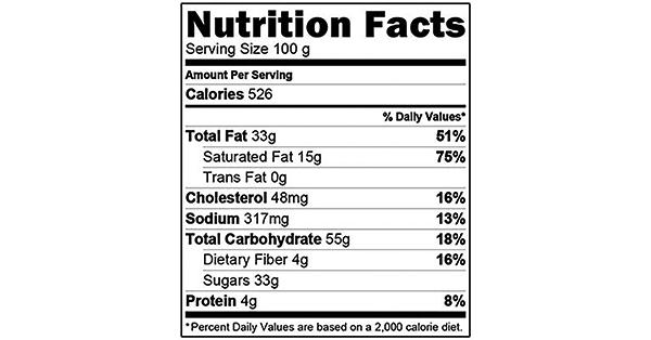 Oreo Pie Crust 100 grams Nutrition Label