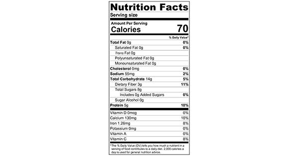100 grams Nutrition Label Mixed Berry Grape-Nut Parfait