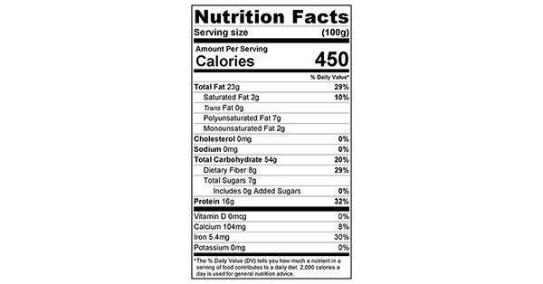 Almonds and Oats Fall Muesli 100 grams Nutrition Label