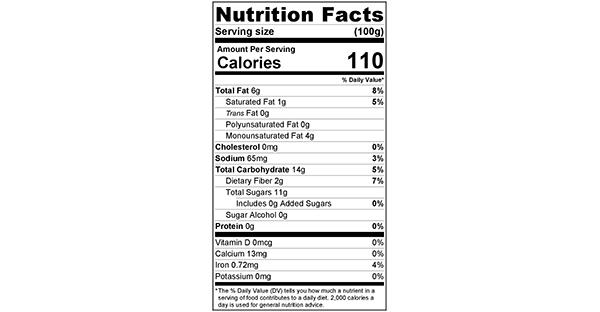 Vanilla Cashew Dates 100 grams Nutrition Label
