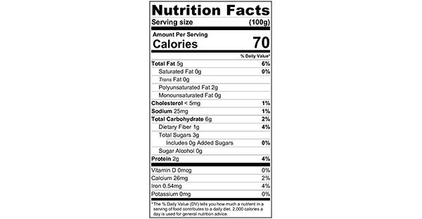 100 grams Nutrition Label Multi-Ingredient Muesli Bowl