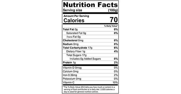 100 grams Nutrition Label Pomegranate