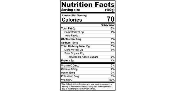 100 grams Nutrition Label Strawberry Yoghurt Smoothie