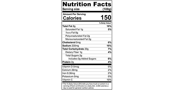 Baked Barbecue Potato Chips 100 grams Nutrition Label
