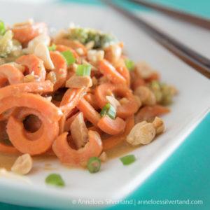 Carrot Spirals with Peanut Sauce
