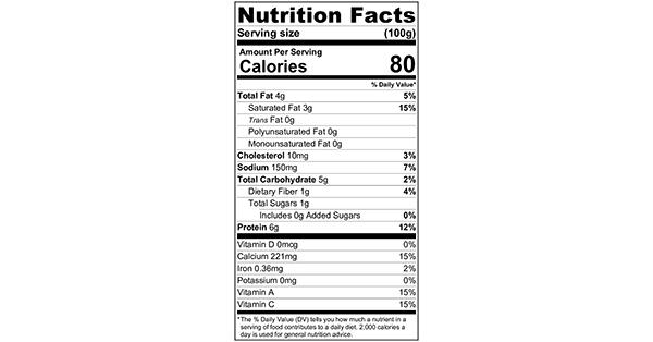 100 grams Nutrition Label Easy Caprese Salad