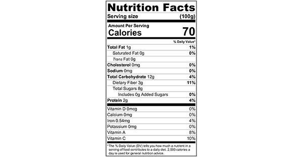 100 grams Nutrition Label Steamed Corn