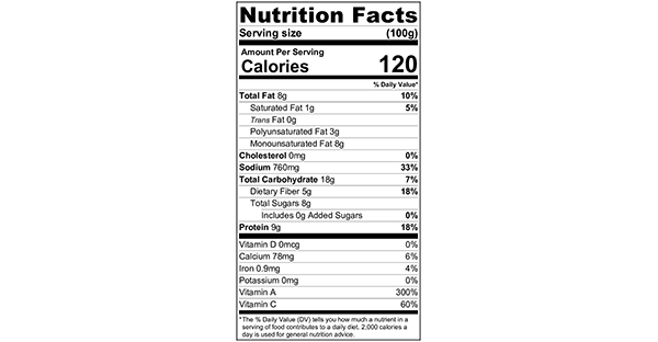 100 grams Nutritional Label Carrot Spirals with Peanut Sauce