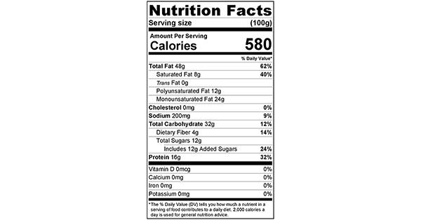 Cashew Vanilla Butter 100 grams Nutrition Label