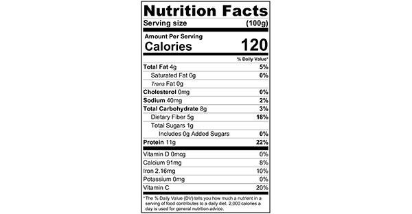 Shelled Steamed Edamame 100 grams Nutrition Label