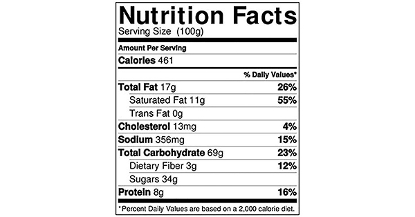 Chocolate Cornflakes Crunch 100 grams Nutrition Label