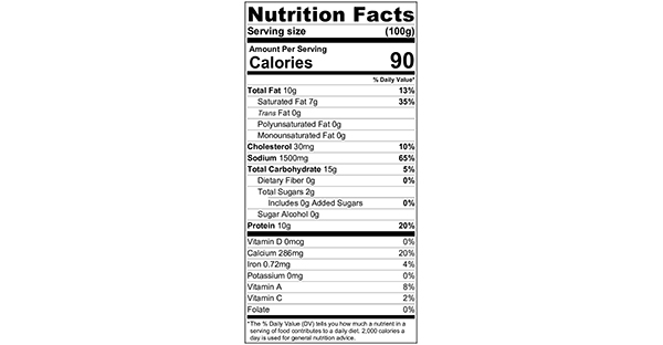 100 grams Nutrition Label Mum's Blue Cheese Pasta