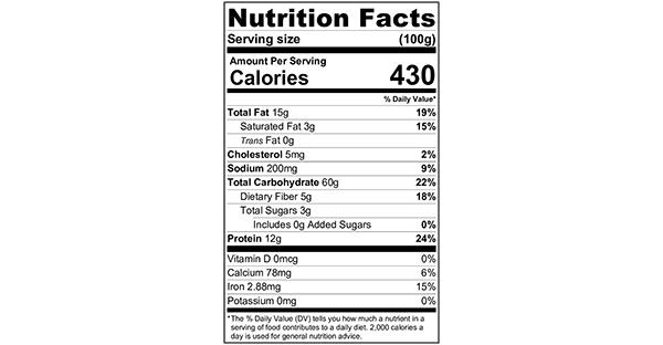 100 grams Nutrition Label Simple Pesto Pasta