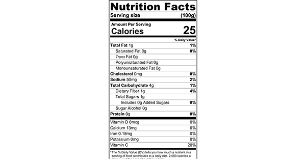 100 grams Nutritional Label Easy Cauliflower Soup