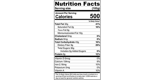 Nutty Cherry Bars 100 grams Nutrition Label