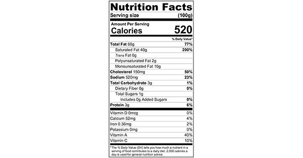 100 grams Nutritional Label Mum's Garlic Butter