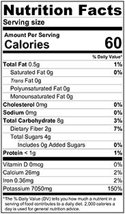 100 grams Nutritional Label Strawberry Snack